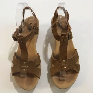 Clarks Shoes - Clarks Elements Suede Strappy Cork Wedges